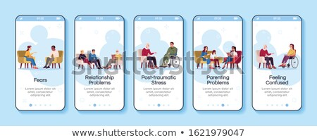 Psychotherapie psychologie app interface sjabloon man Stockfoto © RAStudio