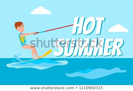 Hot Summer Poster Kitesurfing Happy Boy Vector Stock photo © robuart