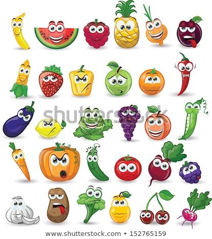 öfkeli karikatür patlıcan örnek bakıyor gıda Stok fotoğraf © cthoman