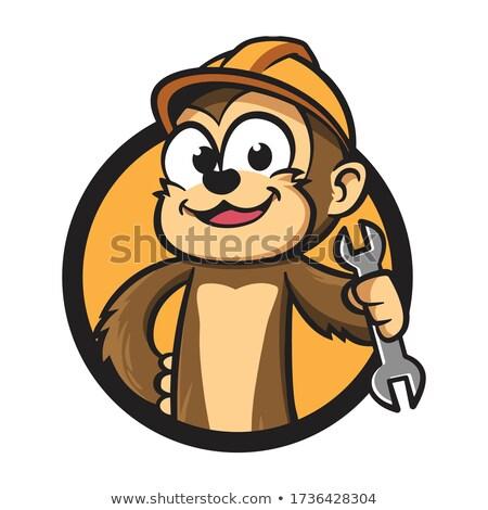 Cartoon souriant travailleur de la construction chimpanzé casque Photo stock © cthoman