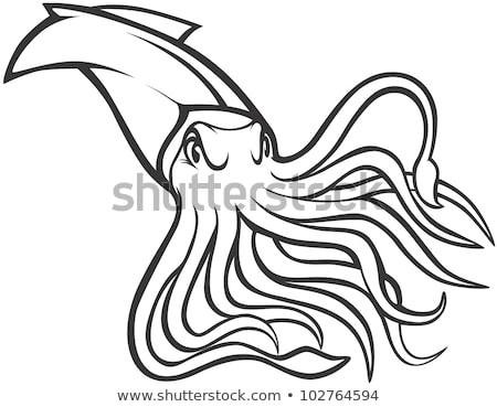 Angry Cartoon Squid Stock photo © cthoman
