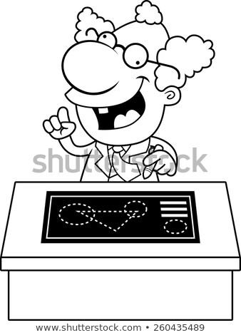 Karikatür deli bilim adamı planları örnek büro Stok fotoğraf © cthoman