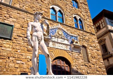 Piazza della Signoria in Florence square and Palazzo Vecchio vie Stock photo © xbrchx