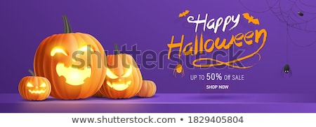 happy halloween banner illustration with scary faced pumpkins spider and cobweb on orange backgroun stock photo © articular