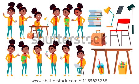 Teen Girl Poses Set Vector. Black. Afro American. Leisure, Smile. For Web, Brochure, Poster Design.  Stock photo © pikepicture