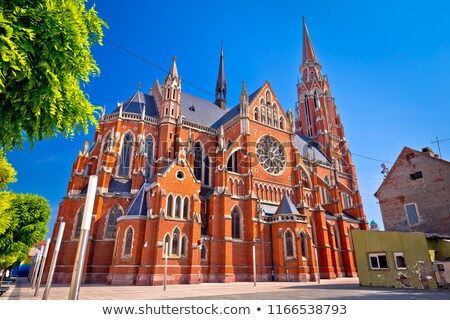 Osijek cathedral of St Peter and St Paul colorful view Stock photo © xbrchx