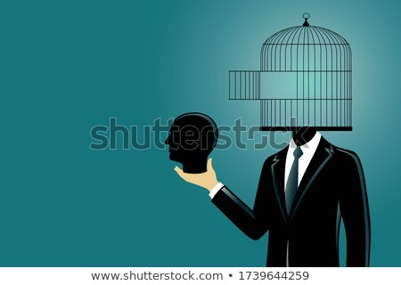 cartoon · triste · prisonnier · illustration · regarder · homme - photo stock © maryvalery