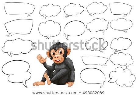 Monkey and different types of bubble speeches Stock photo © colematt
