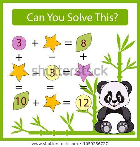 расчет образовательный задача детей черно белые Cartoon Сток-фото © izakowski