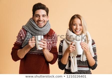 pár · áll · tél · mosolyog · fiatal · pér · természet - stock fotó © deandrobot