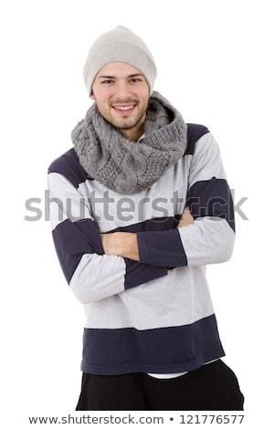 Portret zamrożone młody człowiek sweter szalik odizolowany Zdjęcia stock © deandrobot