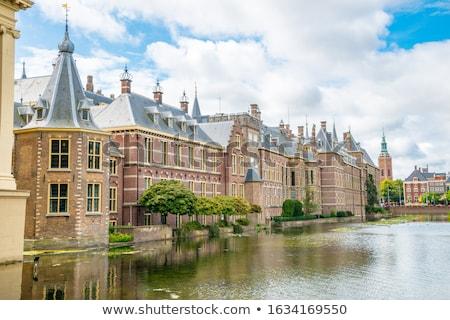 Holandês parlamento holandês ver noite lagoa Foto stock © neirfy