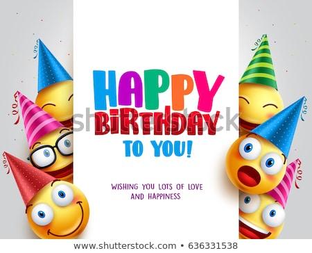 Gelukkige verjaardag kleurrijk wenskaart hoed mooie kegel Stockfoto © robuart