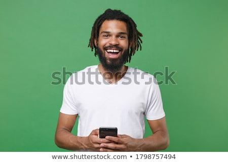 Portret jonge afrikaanse man najaar kleding Stockfoto © deandrobot