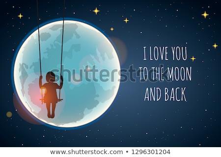 ragazza · luna · swing · illustrazione · pigiama · equitazione - foto d'archivio © ikopylov