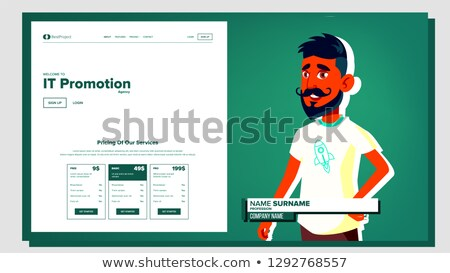 Self Presentation Vector. Arab Male. Introduce Yourself Or Your Project, Business. Illustration Stock photo © pikepicture