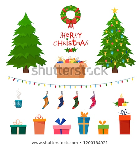 Christmas Tree and Decoration Wreath Set Vector Stock photo © robuart