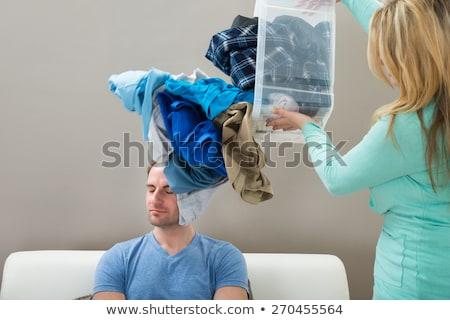 nő · tart · vödör · ruházat · fiatal · boldogtalan - stock fotó © andreypopov