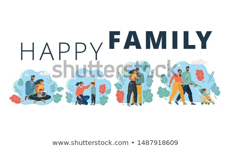 family mother and child set vector illustration stock photo © robuart