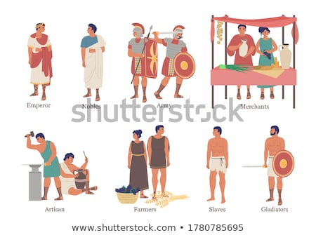 Ancient rome cartoon icons set Stock photo © netkov1