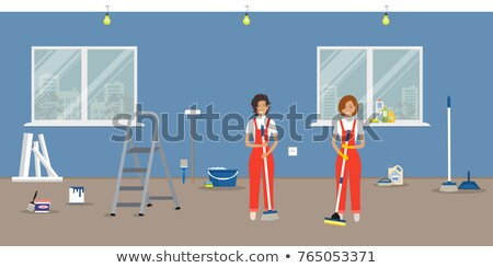 Limpador em pé escada limpeza esponja lavagem Foto stock © RAStudio