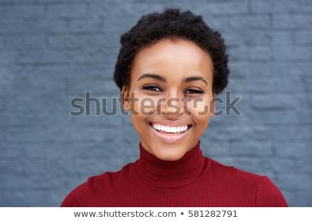 肖像 アフロ アメリカン 笑みを浮かべて 小さな スポーツウーマン ストックフォト © deandrobot