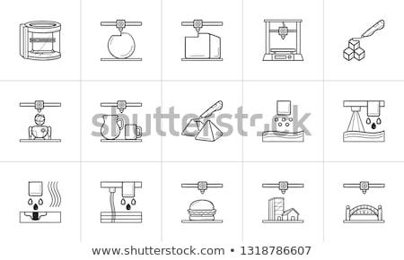 3d printer prints a bridge hand drawn outline doodle icon. Stock photo © RAStudio