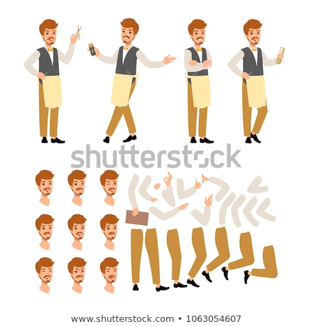 Set of vector flat style character barber guy in different static poses. Isolated on white backgroun Stock photo © bonnie_cocos