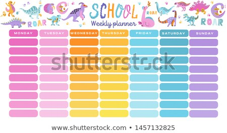 Timetable with colourful dinosaur template Stock photo © colematt