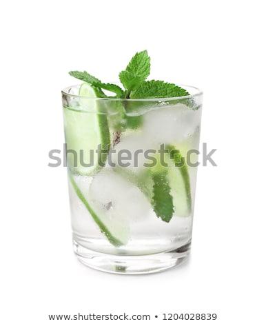 Mojito cocktail kalk mint glas zwarte Stockfoto © grafvision