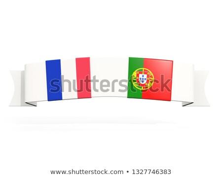 Afiş iki kare bayraklar Fransa Portekiz Stok fotoğraf © MikhailMishchenko