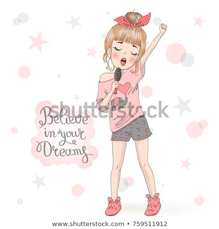 şarkı söyleme kız pop şarkıcı karikatür örnek Stok fotoğraf © netkov1