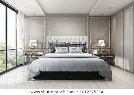 Luksusowy sypialni wnętrza poddasze Zdjęcia stock © amok