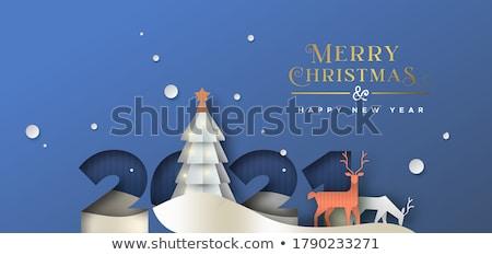 Vidám karácsony kivágás üdvözlőlap tél tájkép Stock fotó © robuart