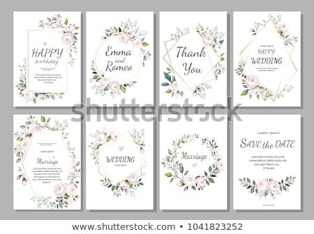 Basit yeşil yaprakları düğün davetiyesi şablon düğün doğa Stok fotoğraf © SArts