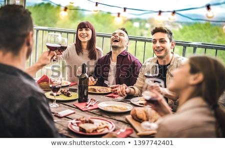 nő · buli · torta · asztal · mosolygó · nő · mosolyog - stock fotó © dolgachov