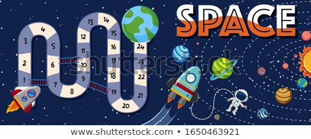 Game template with space invasion theme stock photo © colematt
