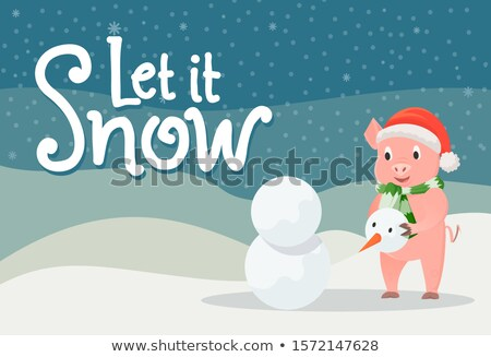 Сток-фото: Let it Snow Poster Piglet in Warm Cloth in Winter