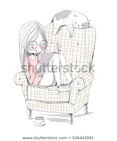 Stock fotó: Tinilány · macskák · fehér · illusztráció · terv · nő