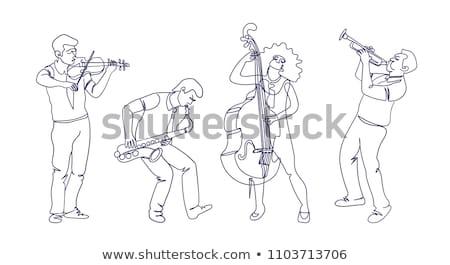 Rabisco músico branco ilustração menina Foto stock © colematt