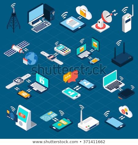set of 3d wireless icons vector illustration stock photo © kup1984