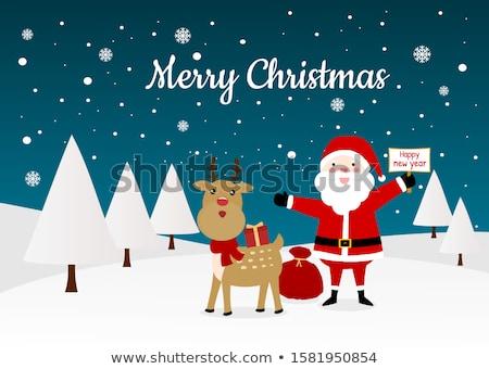 vrolijk · christmas · banner · sneeuwval · sneeuw · achtergrond - stockfoto © frimufilms