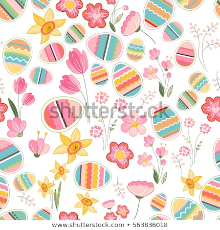 Foto stock: Spring Easter Patterns Vector Seamless Backgrounds