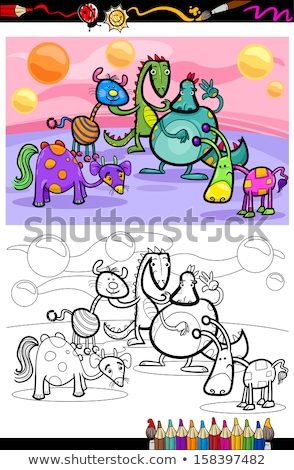 dragons fantasy characters group color book stock photo © izakowski