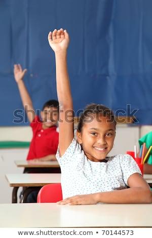 Kettő mosolyog fiatal iskolások karok a magasban osztály Stock fotó © sgursozlu