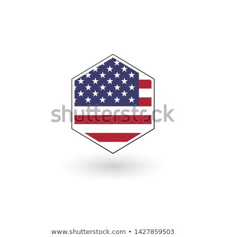 США флаг шестиугольник икона кнопки изолированный Сток-фото © kyryloff