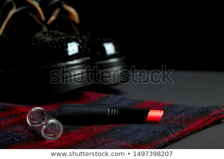 autumn stylish womans outfit red striped coat black oxford shoes stock photo © illia