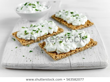 Healthy breakfast with crispbread and cream cheese on wooden Stock photo © masay256