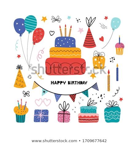 Doğum günü partisi kaligrafi mutlu dizayn Stok fotoğraf © Anna_leni