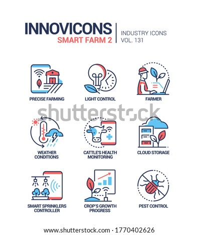 Smart farm - modern colorful line design style icons Stock photo © Decorwithme
